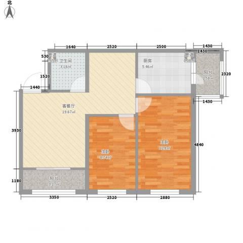 香悦蓝天下2室1厅1卫1厨92.00㎡户型图