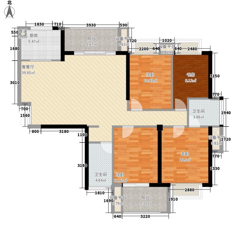 正祥水榭芳庭142.00㎡3#楼01单元东向户型4室2厅2卫