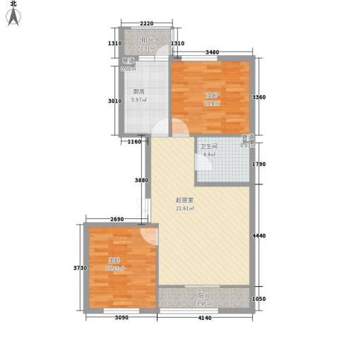 香悦蓝天下2室0厅1卫1厨96.00㎡户型图