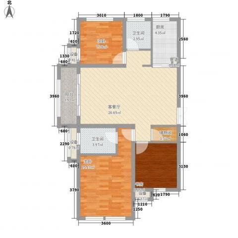 金色年华3室1厅2卫1厨111.00㎡户型图