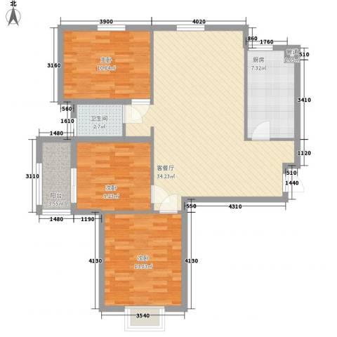 江南雅苑3室1厅1卫1厨114.00㎡户型图