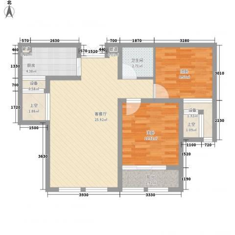 金色年华2室1厅1卫1厨90.00㎡户型图