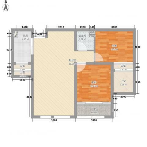 金色年华2室0厅1卫1厨93.00㎡户型图