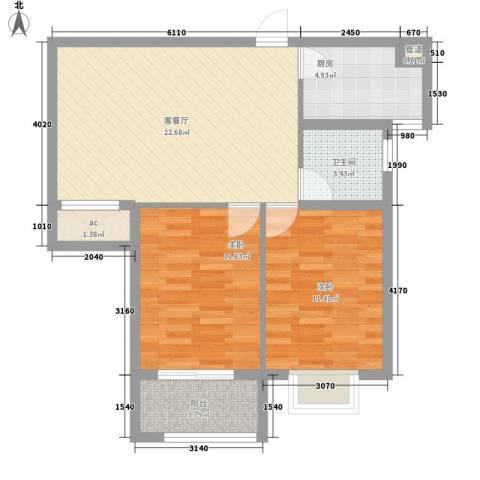 江南雅苑2室1厅1卫1厨85.00㎡户型图