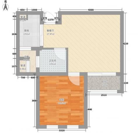 金色年华1室1厅1卫1厨56.00㎡户型图