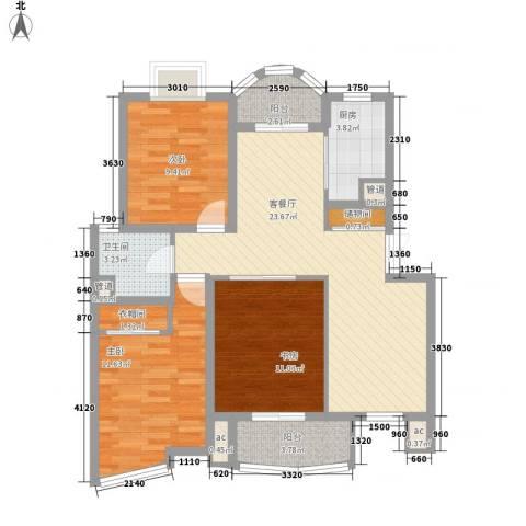 翡翠上南别墅3室1厅1卫1厨107.00㎡户型图