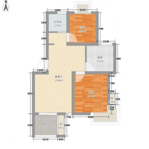 星联邦2室1厅1卫1厨72.00㎡户型图