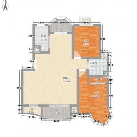 翡翠上南别墅2室1厅1卫1厨110.00㎡户型图