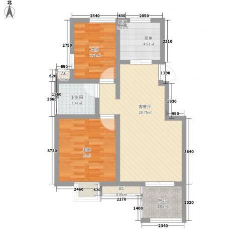 星联邦2室1厅1卫1厨77.00㎡户型图