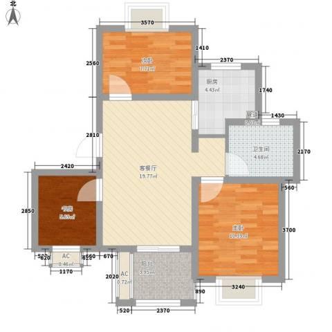 星联邦3室1厅1卫1厨85.00㎡户型图
