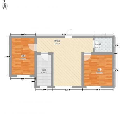 怡景名苑2室1厅1卫1厨70.00㎡户型图