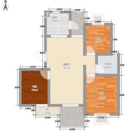 星联邦3室1厅1卫1厨87.00㎡户型图