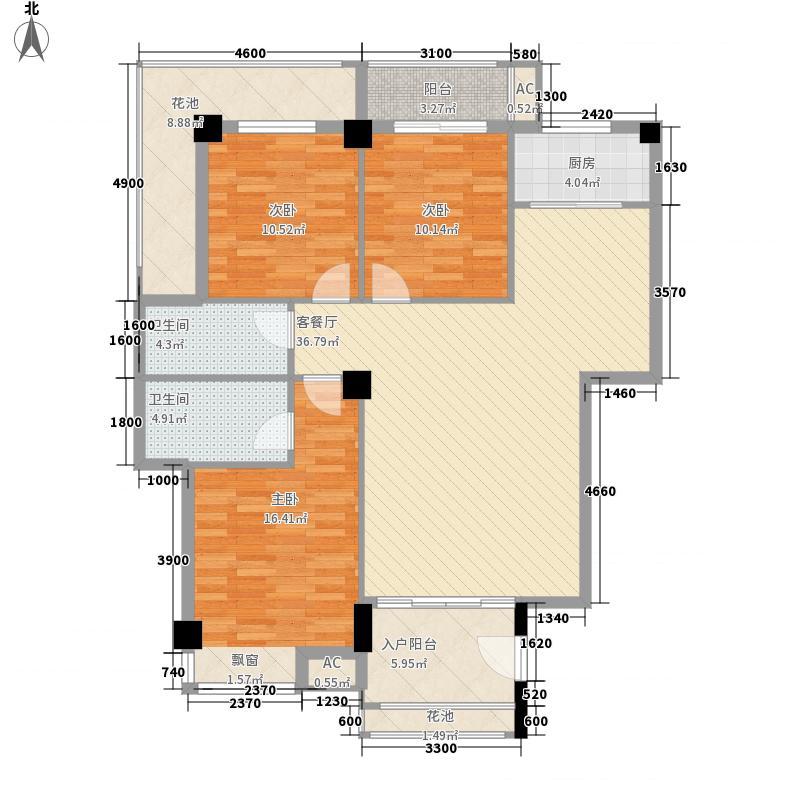 天诚丽景126.70㎡A1户型3室1厅2卫1厨