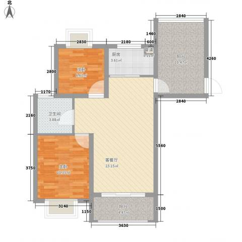 美岸青城幸福里2室1厅1卫1厨90.00㎡户型图
