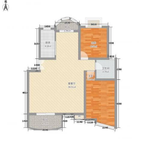 翡翠上南别墅2室1厅1卫1厨108.00㎡户型图