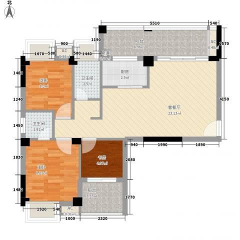 丽都・中央公馆3室1厅2卫1厨88.00㎡户型图