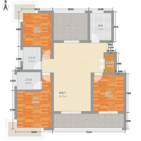 美岸青城幸福里3室1厅2卫1厨140.00㎡户型图
