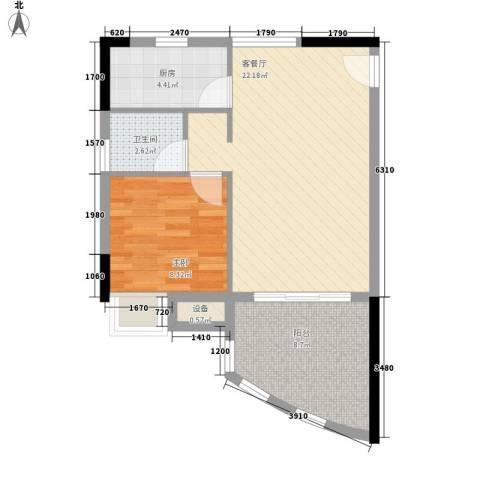 海韵假日休闲公寓1室1厅1卫1厨55.00㎡户型图