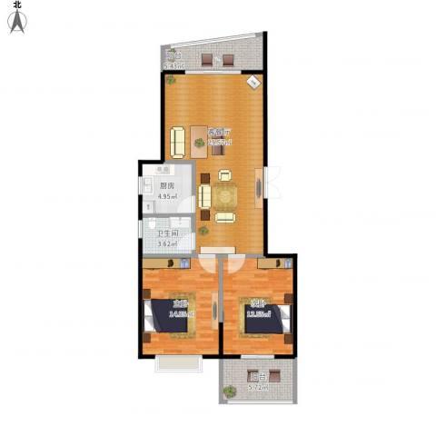 龙腾随园2室1厅1卫1厨107.00㎡户型图