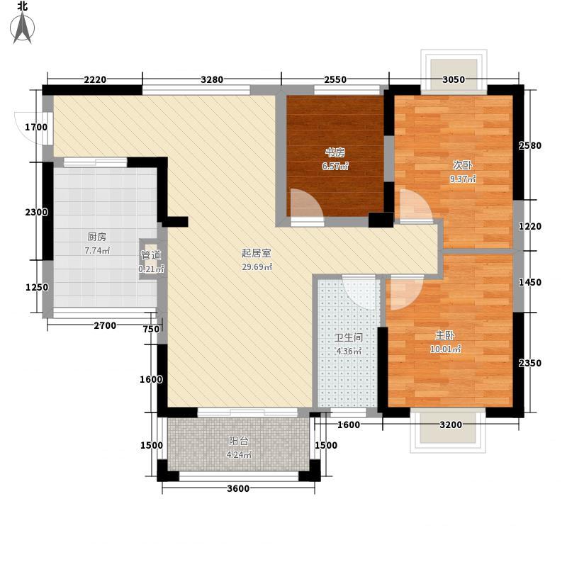 莱茵名郡8.00㎡一期5#E户型3室2厅1卫1厨