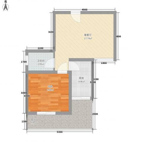 漓水书香1室1厅1卫1厨52.00㎡户型图