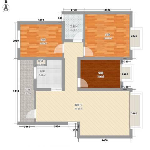 铭星小河印象3室1厅1卫1厨87.00㎡户型图