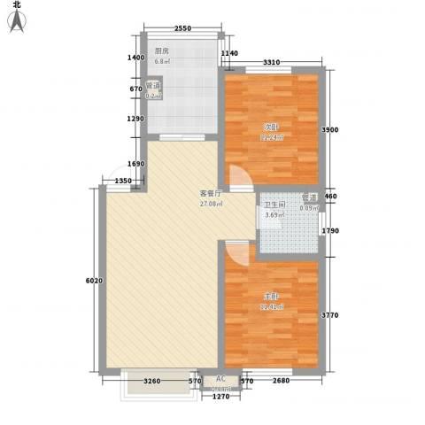 吴中印象2室1厅1卫1厨82.00㎡户型图