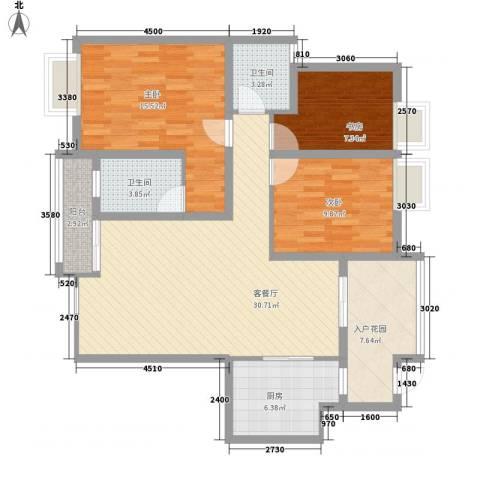 铭星小河印象3室1厅2卫1厨100.69㎡户型图