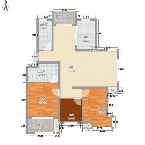 星联邦3室1厅2卫1厨126.00㎡户型图