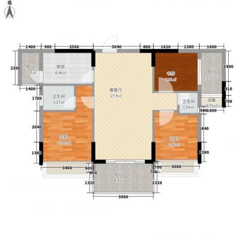 格林春天3室1厅2卫1厨80.22㎡户型图