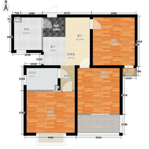 中央峰景3室0厅1卫1厨94.00㎡户型图