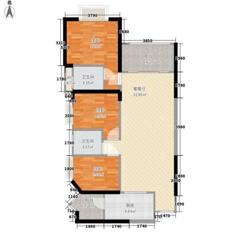 锦绣银湾别墅3室1厅2卫1厨117.00㎡户型图