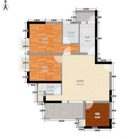 紫薇西城映画3室0厅2卫1厨75.00㎡户型图