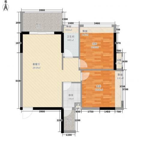 格林春天2室1厅1卫1厨82.00㎡户型图