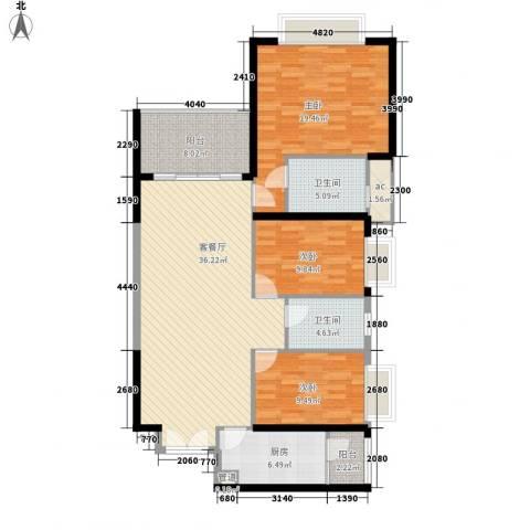 锦绣银湾别墅3室1厅2卫1厨144.00㎡户型图