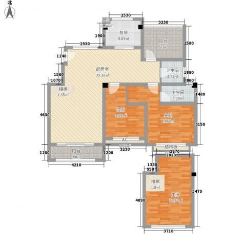 天瑞绿洲3室0厅2卫1厨142.00㎡户型图