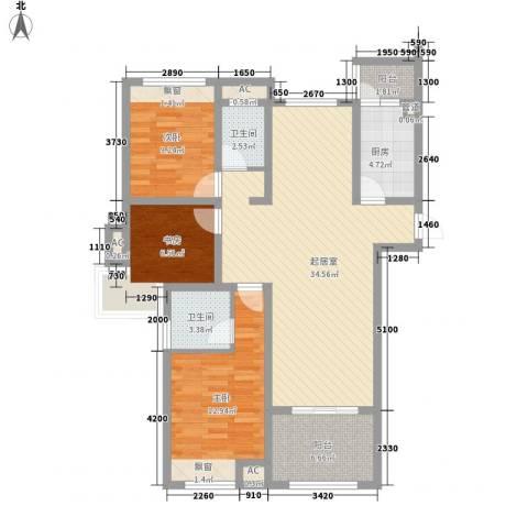 天瑞绿洲3室0厅2卫1厨123.00㎡户型图