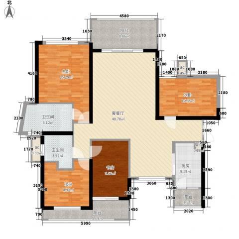 锦绣银湾别墅4室1厅2卫1厨167.00㎡户型图