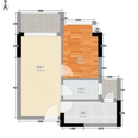 誉轩1室1厅1卫1厨49.00㎡户型图