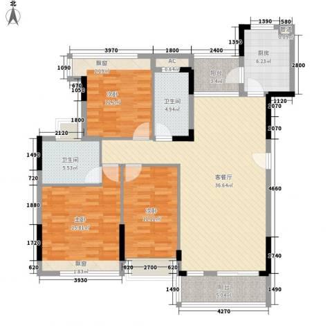 金地格林上院三期3室1厅2卫1厨120.00㎡户型图
