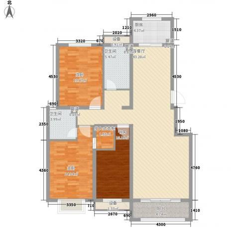 中基碧域3室1厅2卫1厨150.00㎡户型图