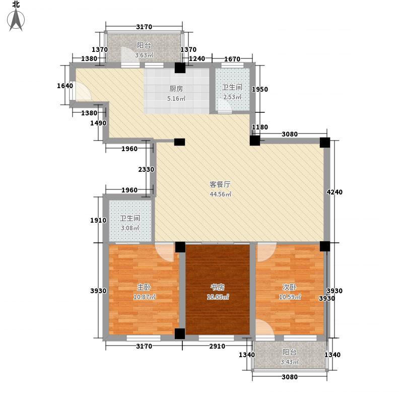 湖畔雅居124.99㎡湖畔雅居户型图3室2厅2卫1厨户型10室