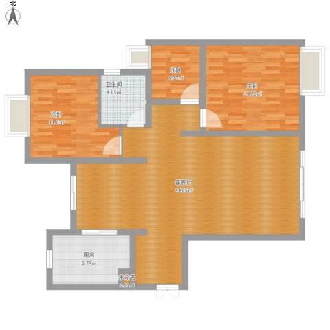 绿地东上海3室1厅1卫1厨123.00㎡户型图