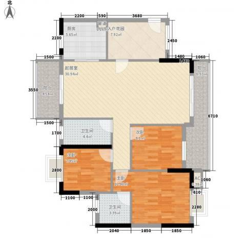 乐然水畔3室0厅2卫1厨92.35㎡户型图