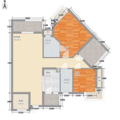 沙田东港城二期2室0厅2卫1厨100.00㎡户型图