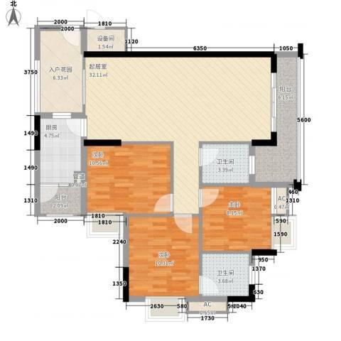 乐然水畔3室0厅2卫1厨90.24㎡户型图