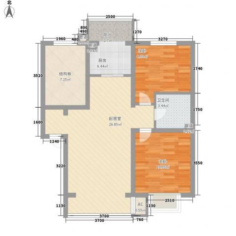 富城花园2室0厅1卫1厨91.00㎡户型图