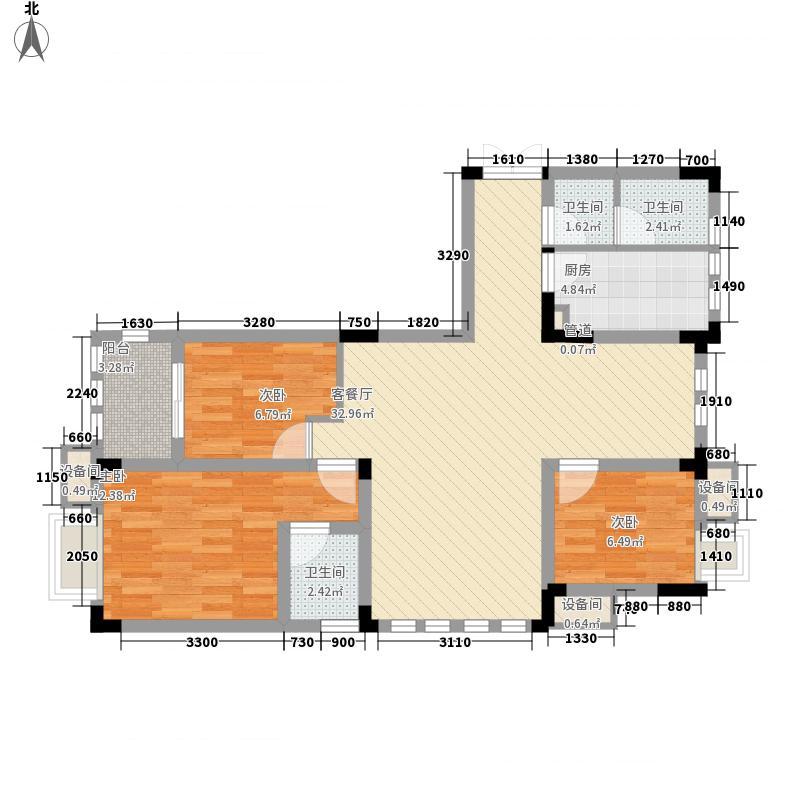紫金上河苑110.73㎡一期3幢标准层B3户型3室2厅2卫1厨