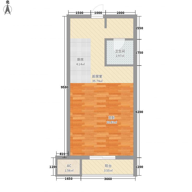 左岸景林61.00㎡左岸景林户型图公寓五户型1室1厅1卫1厨户型1室1厅1卫1厨