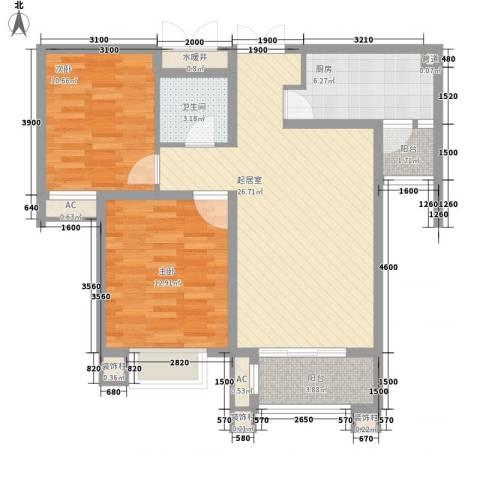 众美凤凰绿都2室0厅1卫1厨68.12㎡户型图